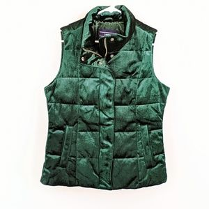 Lands End Evergreen Velvet Puffer Vest